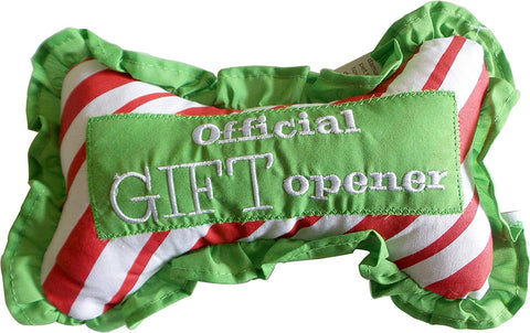 "Santa's Lucky Dog Ruffle Squeek Bone - ""Official Gift Opener"""