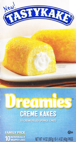 Tastykake Dreamies Creme Kakes Box of 10 Wrapped Snack Cakes