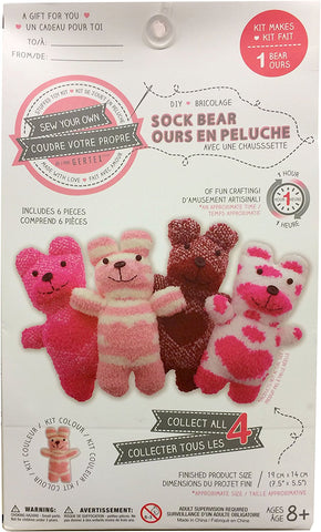 Sew Your Own DIY Sock Bear Sewing Crafts Kit - Light Pink Hearts Stripes Bear