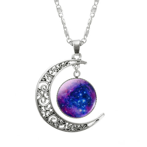 Glass Galaxy Moon Pendant Chain Brand Fashion Choker Necklace - Purple