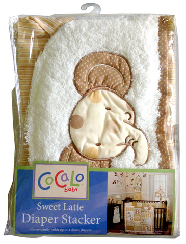 Cocalo Sweet Latte Beige Elephant-Themed Diaper Stacker Organizer