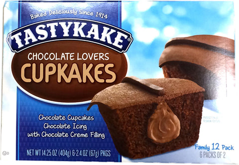 Tastykake Chocolate Lovers Cupcake Snacks, 12 Count, 14.25 oz Box