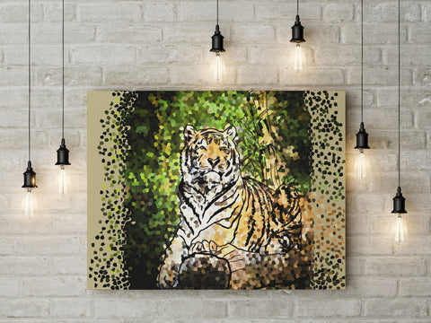 Canvas Wall Art with Frame Modern Style Digital Painting - Pixel Tiger