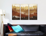 Canvas Wall Art Three Panels with Frame - Mountainscape IV