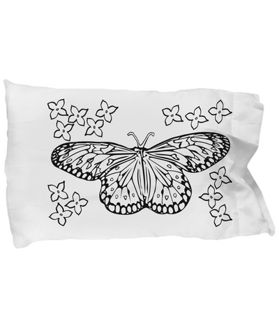 "Color Your Own - Butterfly and Flower White 20"" x 30"" Pillow Case"