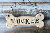 Personalized Ceramic Dog Bone Christmas Ornament