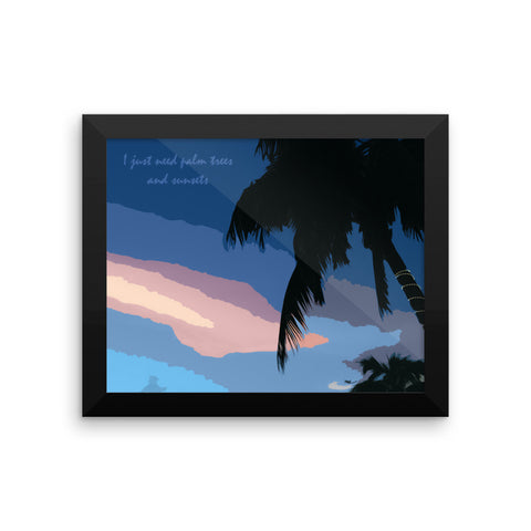 Wall Poster Modern Style Digital Painting - Tropical Sunset and Palm Trees
