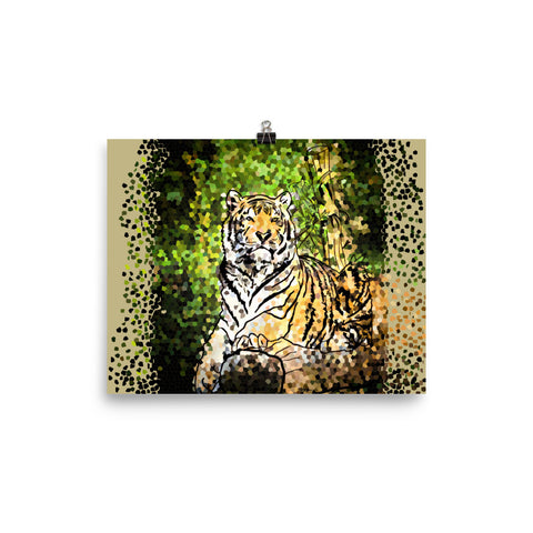 Wall Poster Modern Style Digital Painting - Pixel Tiger
