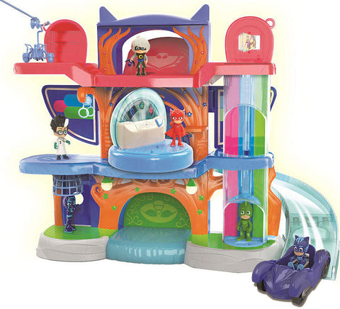 Disney Jr. PJ Masks Headquarters Playset with Cat Boy Figure and Cat-Car Vehicle