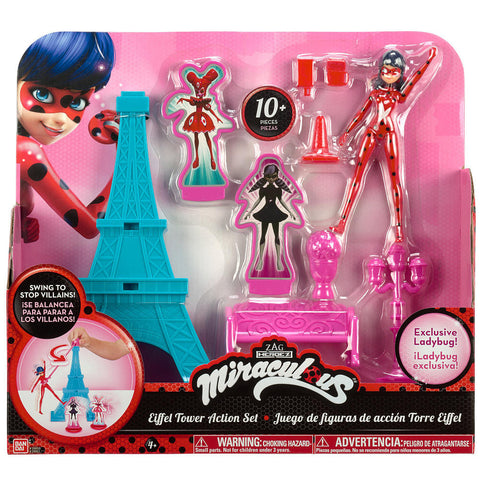 Bandai Miraculous Eiffel Tower Playset with 5.5 inch Exclusive Ladybug Action Doll