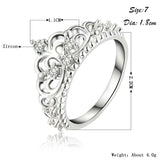 Womens Princess Queen Crown Silver Plated Elegant Fashion Ring