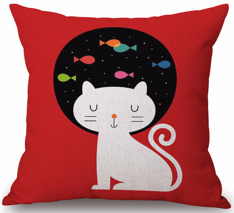 Cat Dreaming of Fish 17 in. Square Red One Sided Decorative Pillow Case for Sofa
