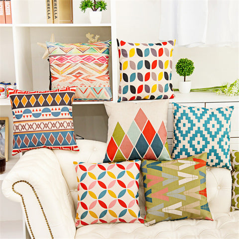 Colorful Geometric 18 in. Square One Sided Decorative Modern Pillow Case for Sofa
