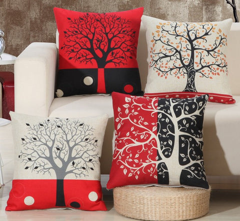 Wish Tree 17 in. Square One Sided Decorative Modern Pillow Case for Sofa