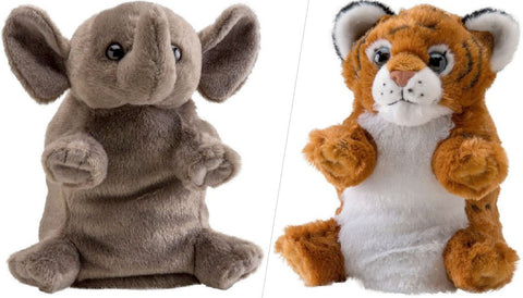Wild Republic Switch A Rooz Tubby Elephant and Cubbie Tiger 7 in. Plush Toy