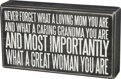 Never Forget (for Grandma) | Box Sign