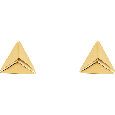 14K Yellow Gold Pyramid Earrings
