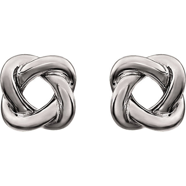 14K White Knot Design Earrings