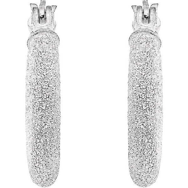 Sterling Silver 25.5mm Sparkle Hoop Earrings