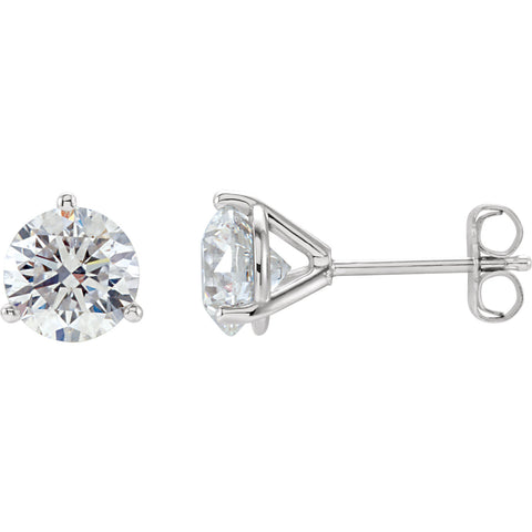 3-PRONG COCKTAIL-STYLE DIAMOND STUD EARRINGS WITH FRICTION BACKS