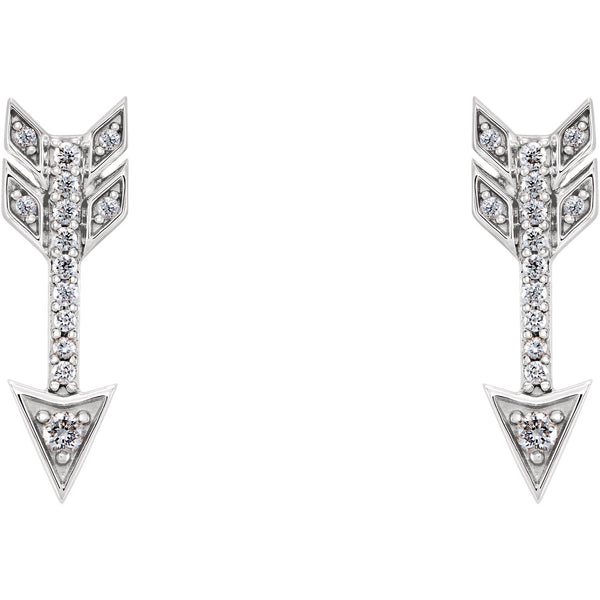 14K White 1/6 CTW Diamond Arrow Earrings