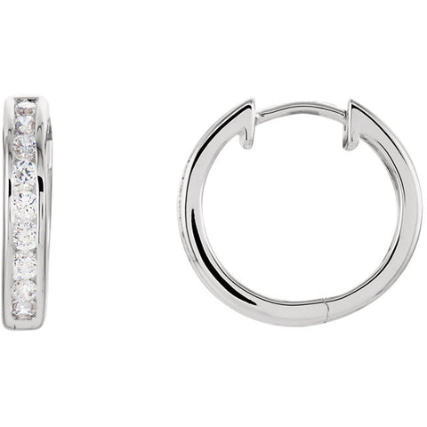 Sterling Silver Cubic Zirconia Hinged Hoop Earrings - Best Seller