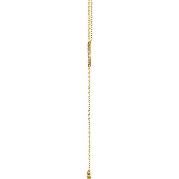 "14K 1/8 CTW Diamond Bar Y 16-18"" Necklace"
