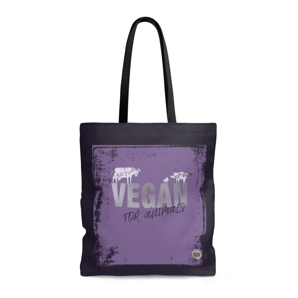 Vegan For Animals Purple Tote Bag
