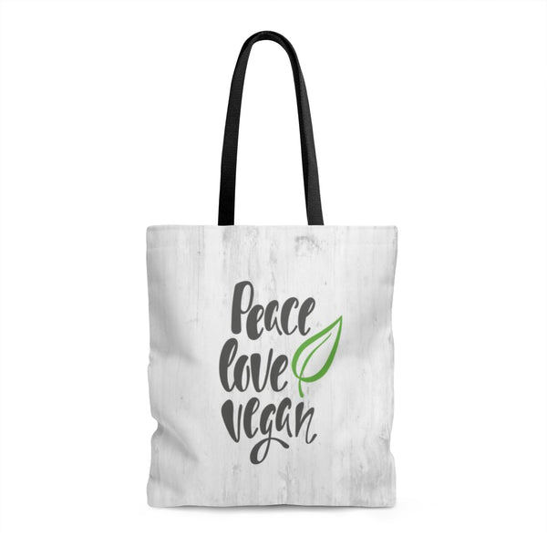 Peace Love Vegan Tote Bag