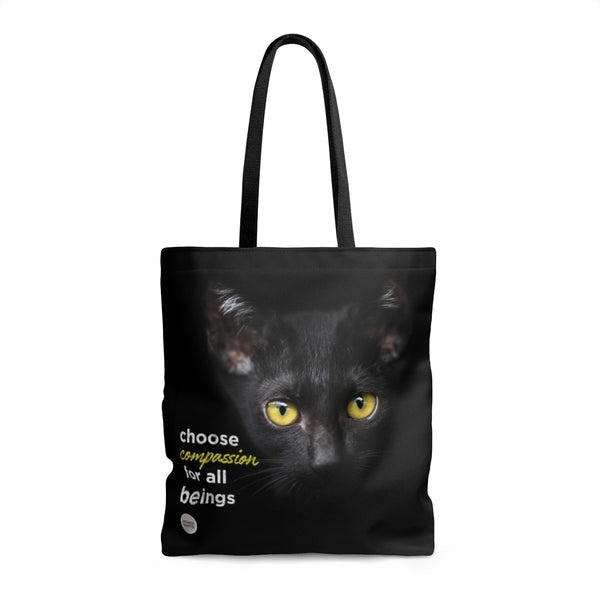 Choose Compassion For All Beings Tote Bag - Black Cat