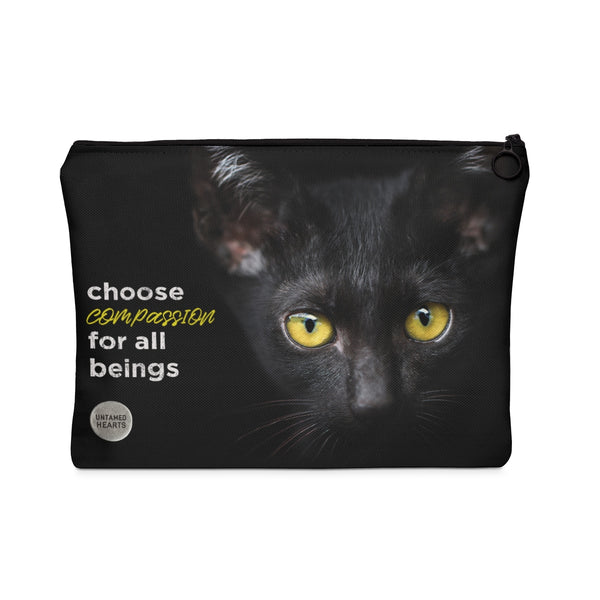 Choose Compassion Carry All Pouch - Black Cat