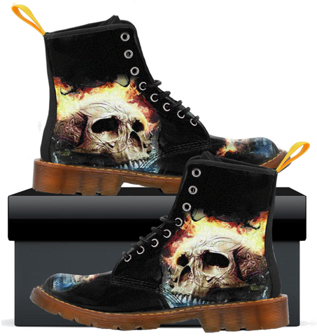 Fire SKull - Womens Canvas Boots