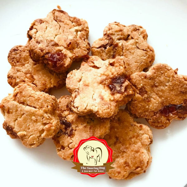 Cranberry Cheese Paws (Gluten Free) Dog Cookies - The Snoring Dog Gourmet Dog Treats and Dog Cakes