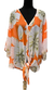 A23131-011 - Sheer Top - Orange w White Flowers