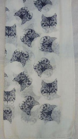 SC4992   -   Scarf  Cat - White
