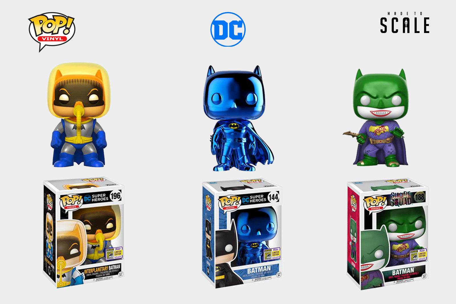 Funko Pop Vinyl SDCC 2017 DC Exclusives - Joker Batman, Aquaman, Bruce Wayne, Ares, Interplanetary Batman, Blue Chrome Batman, Wonder Twins, Man Bat