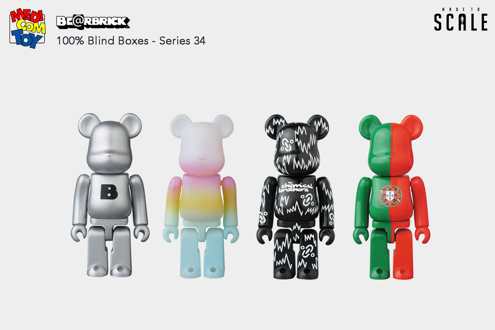 Medicom Toy Be@rbrick - Blind Boxes 100% Bearbrick Series 34 Mini Figures - Release Date: July 2017