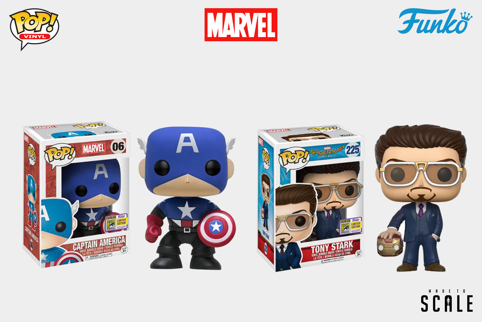 Funko SDCC 2017 Marvel Exclusive - Red She-Hulk, Bucky Cap, Homecoming Tony Stark With Iron Man Helmet, Selfie Gwenpool Pop Vinyl Figure