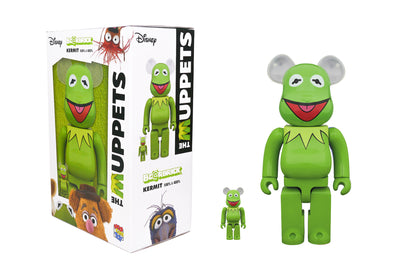 Medicom Toy 100% + 400% Bearbrick Set - The Muppets: Kermit The Frog Be@rbrick
