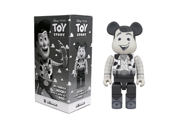 Medicom Toy 400% Bearbrick - Disney Pixar's Toy Story: Woody (Black and White) Be@rbrick