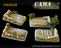 15A05CB 4 different Medium/Light Artillery scenic bases (rural) Baueda- Blitz and Peaces