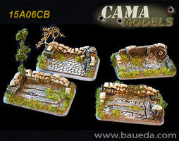 15A06CB 4 different HMG/mortar scenic bases (rural)