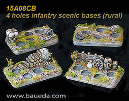 15A08CB 4 different 4 holes Infantry scenic bases (rural)