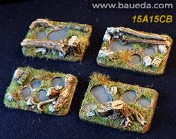 15A15CB 4 different 4 holes Infantry scenic bases (forest)
