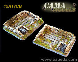 15A17CB 2 different large heavy mortar scenic bases