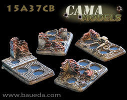 15A37CB 4 different 4 holes infantry scenic bases (urban) Baueda- Blitz and Peaces