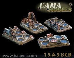 15A38CB 4 different 5 holes infantry scenic bases (urban)