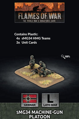 GE784 MG34 Machine-gun Platoon (x4 Plastic) Battlefront- Blitz and Peaces