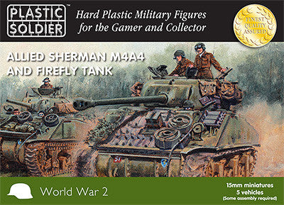 15mm Easy Assembly Sherman M4A4 and Firefly Tank Plastic Soldiers Company- Blitz and Peaces