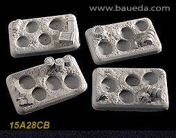 15A28CB 4 different 4 holes Infantry scenic bases (desert)